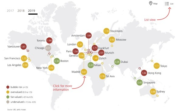 Die größten Städte und deren Immobilienblasen